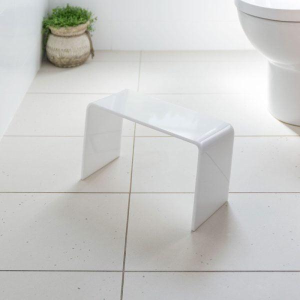 White toilet squat stool