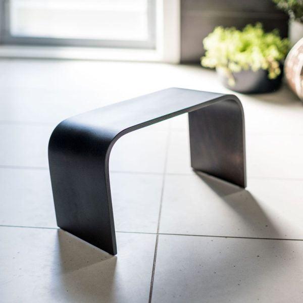 black timber toilet stool